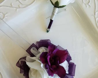 SALE Deep purple and white prom corsage with matching boutonniere  ready to ship Wrist Corsage Prom Set