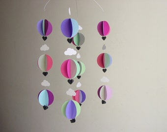 Hot Air Balloon Baby Mobile - Baby shower decorations - Travel theme baby shower - hot air balloon decorations - baby mobile - nursery decor