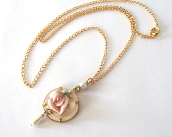 Pink Porcelain Rose Necklace, Vintage Earring Charm, Mother of Pearl Button Upcycled Pendant