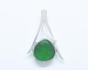 Sea Glass Jewelry - Sterling Green Sea Glass Pendant