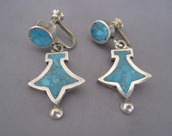Vintage Sterling Turquoise Chip Taxco Earrings