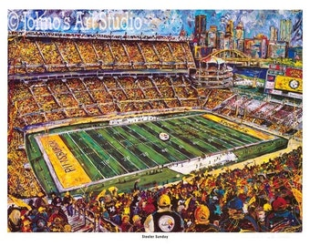 Football Stadium, Pittsburgh Steelers Football Print, Limited Edition by Johno Prascak