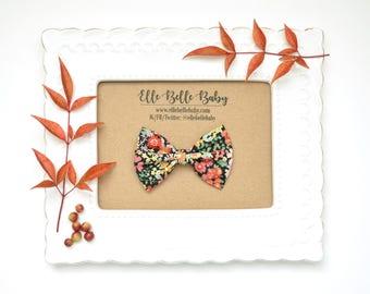 Black Floral Newborn Bow Tie - Belle Hair bow- Baby Headband - Cotton Hairbow - Infant Tuxedo Bow - Ballet Bow - Toddler Hair Clip