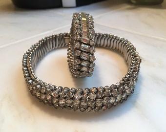 Vintage rhinestone stretch choker necklace and bracelet
