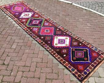 """Herki Runner rug, Turkish runner rug, 139"""" x 36"""", Burgundy and Purple runner, hallway rug, pile runner, Bohemian runner, runner, purple,"""