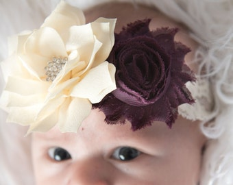 eggplant headband, ivory headband, flower headband, baby shower gift, flower girl hair accessories, bridal headband, girl birthday gift