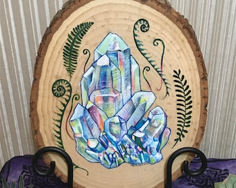 Angel Aura Crystal Wood Drawing
