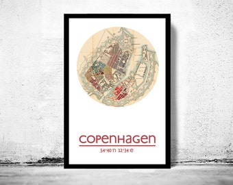 COPENHAGEN - city poster - city map poster print