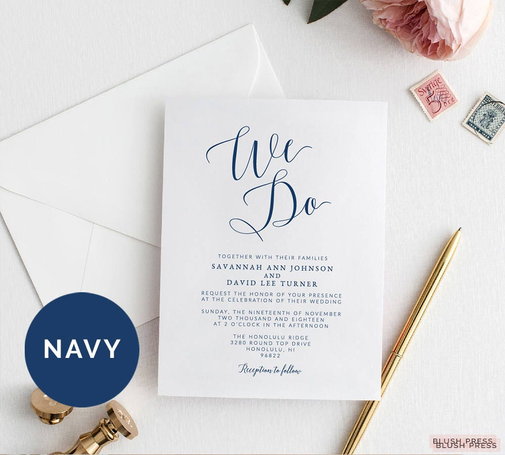 Navy We Do Wedding Invitations Template Printable We Do