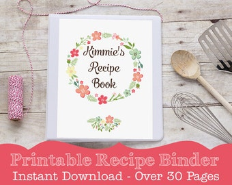 Recipe Binder - PRINTABLE Recipe Book - Recipe Binder with Editable Recipe Page by Printable Studio