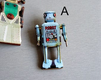 Wooden Robot Brooch or Pin