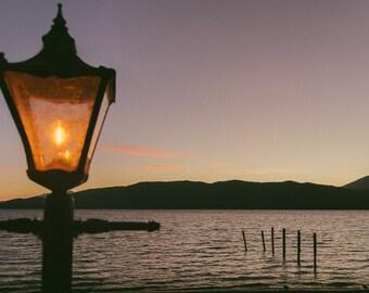 Lone Lantern at Dusk - Art Photography - New Zealand Lake - Light at Dusk