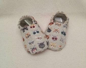 Baby Shoes - Cat Nerds, Kitten Geeks (baby shoes, baby mocs, baby booties, baby shower gift)
