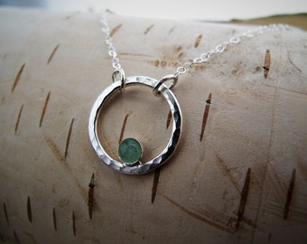 Dainty Circle Necklace, Simple Minimal Sterling Silver and Gemstone Necklace, Layering Necklace, Silver Eternity Necklace, Gift for Her