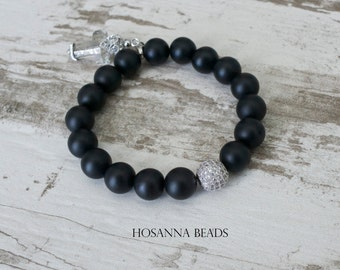 Swarovski Natural Stone Onyx Hosanna Bead Bracelet