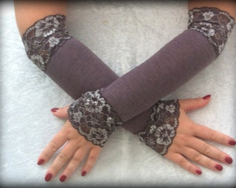 Fingerless beige with lace  long gloves