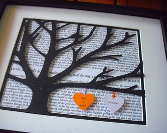 1st Anniversary Gift, Wedding Vows Framed, Personalized 11X14 Unframed 3D Paper Tree Wedding Gift, Anniversary, Wedding Song Lyrics