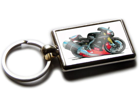 DUCATI 748 Motorbike Koolart Leather and Chrome Keyring
