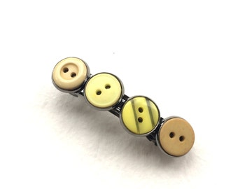 Shades of Yellow Vintage Button Barrette