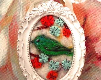 Needle Felted Embroidered miniature Green Bird White Distressed Frame
