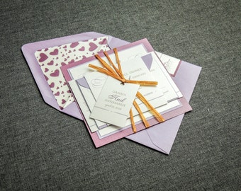 "Lilac Wedding Invitation, Purple Wedding Invites, Romantic Calligraphy Invitations, Layered Invite Set- ""Romantic Flourish"" FP-2L-v2 SAMPLE"