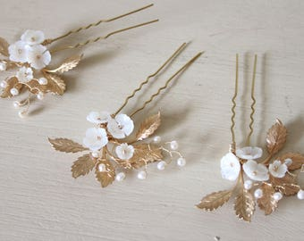 Set of 3 floral hair pins, wedding hair pins, gold hair pins, mother of pearl hair pins, bridal hair pins - 'Flora'