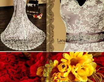Baroque Dusty Purple Underlay Vintage Style Lace Wedding Dress | Purple Wedding Dress, Wedding Gowns, Vintage Wedding Dresses, Bridal Gowns
