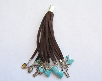 """Long soft Faux leather Tassel Brown 4"""" very nice #BS-EmgCharms"""