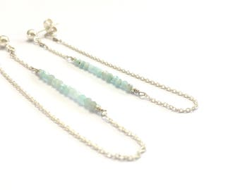 Amazonite gemstone drop earrings, blue jewelry, chain earrings