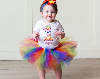Rainbow 1st Birthday Outfit - Baby Girl First Birthday Tutu - Rainbow Birthday - Birthday Girl -  Smash Cake Outfit