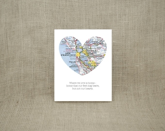 """8x10""""  SAN FRANCISCO and Bay Area Pre-made Ready to Ship City Heart Print - Ships in 1-3 Business Days"""