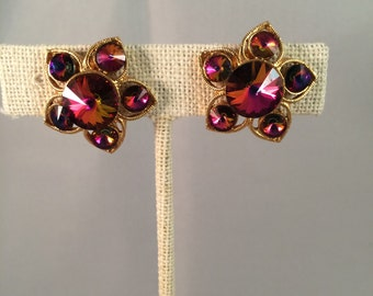 Coro Vintage Flower Gold and Red Clip On Earrings