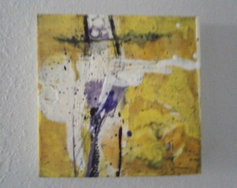 Abstract Encaustic Painting 12 inch square on cradled wood board by donnasledge