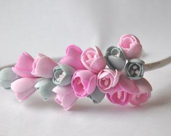 Flower Headband, Flower Hair Hoop, Bright Flower Crown, Delicate flowers Floral Hoop for Hair, Girls Hair Halo