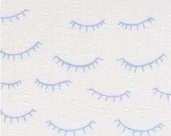 217394 white fabric with blue eyelash by Dear Stella USA
