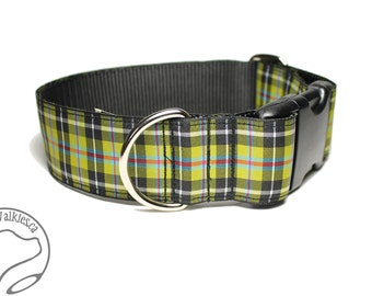 """Cornish National Tartan Dog Collar - 1.5"""" (38mm) Wide - Gold and Black Plaid - Martingale or Side Release -Choice of collar style and size"""