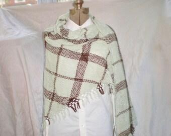 Handwoven Triangle Shawl, Baby Alpaca Shawl, Triloom, Subtle Plaid, Minty Green and Brown, Autumn Wrap, Soft Shawl
