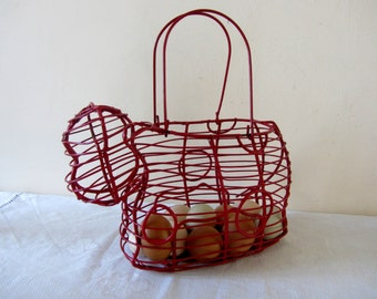 Vintage French Red Wire Basket Home Decor