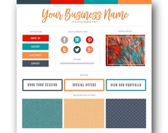 Blog marque Kit / Kit de Blog / Branding Kit / Kit Blogger / boutons sociaux, onglets de la page d'accueil, modèles, Blog Design Kit / Blog graphisme, bleu paon