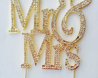 Mr & Mrs Cake Toppers Rhinestone Bling Wedding Cake Toppers Anniversary Large Size Silver or Gold