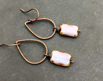 Drop earrings dangle earrings pink earrings czech glass earrings copper earrings boho earrings bohemian earrings rustic earrings