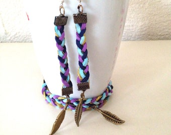 """""""Little Squaw"""" dress suede suede Bracelet + earrings with feathers"""