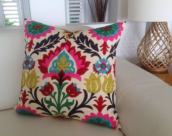 Colourful Cushions Desert Flower Pillow Colourful Bright Medallion & DesertFlower Cushions, COVER ONLY
