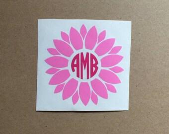 Flower Monogram Decal | Flower Decal | Monogram Sticker | Circle Monogram | Tumbler Decal | Car Decal | Laptop Decal |