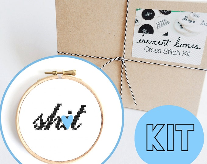 Featured listing image: Sh*t Modern Cross Stitch Kit - easy chart design - rude offensive funny DIY gift - mature cross stitch swear words bad taste embroidery kit