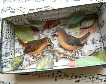 Woodland Birds Shadow Box, Birds Shadow Box, Wedding Gift, Matchbox Art, Anniversary Gift, Collage Art, Forest Shadow Box, Nature Shadow Box