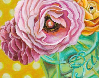 Pink floral still life, mason jar, ball jar, modern floral painting, small art, square art, kitchen wall art, colorful art by Paula Prass