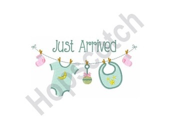 Just Arrived Baby Clothesline- Machine Embroidery Design