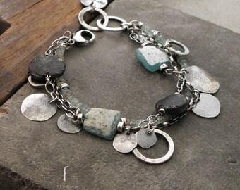 Oxidized sterling silver  and roman glass - bracelet