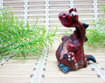 Miniature Dragon Sculpture Figurine Quirky Creature Collectible Very Detailed Hand Painted RAK Fairy Tale Garden Vintage FREE SHIPPING (569)